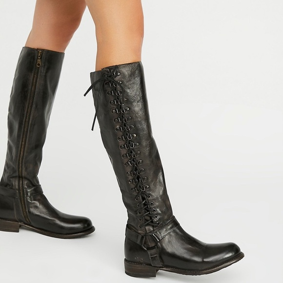 44e14591cbef01 Bed Stü Burnley Black Dip Dye Lace-Up Tall Boots